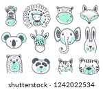 Stock vector vector collection of cute animal heads for baby and children design fox giraffe lion rabbit 1242022534