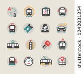 public transport icon set | Shutterstock .eps vector #1242031354