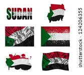 sudan flag and map in different ... | Shutterstock . vector #124206355