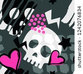 skull funky seamless rough... | Shutterstock . vector #1242076834