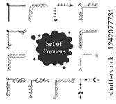 hand drawn set of corner with... | Shutterstock .eps vector #1242077731