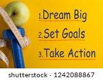dream big set goals take action.... | Shutterstock . vector #1242088867