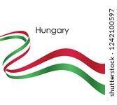 hungary ribbon flag vector... | Shutterstock .eps vector #1242100597
