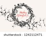 hand drawn ink christmas and... | Shutterstock .eps vector #1242112471