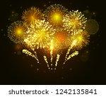 vector golden fireworks... | Shutterstock .eps vector #1242135841