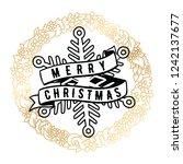 merry christmas. typography.... | Shutterstock .eps vector #1242137677