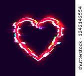 vector glitch effect heart icon ... | Shutterstock .eps vector #1242143554