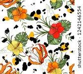 retro wild seamless flower... | Shutterstock .eps vector #1242146554