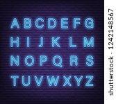 neon light letters  vector... | Shutterstock .eps vector #1242148567