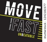 move fast sport typography  tee ... | Shutterstock .eps vector #1242182377