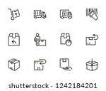 postal delivery line icon set.... | Shutterstock .eps vector #1242184201