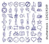 set of 49 hand draw web icon... | Shutterstock .eps vector #124219249