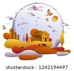 farm in scenic autumn landscape ...   Shutterstock .eps vector #1242194497