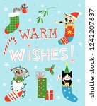 warm wishes.  cute greeting... | Shutterstock .eps vector #1242207637