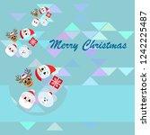 christmas card  santa snowman... | Shutterstock .eps vector #1242225487