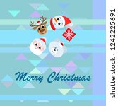 christmas card  santa snowman... | Shutterstock .eps vector #1242225691