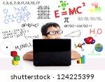 smart asian boy with laptop... | Shutterstock . vector #124225399