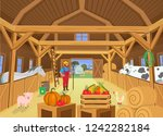 a barn with animals and farmer  ... | Shutterstock .eps vector #1242282184
