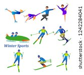 set of winter sport activities... | Shutterstock .eps vector #1242284041