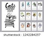 Funny Cats Calendar 2019. Hand...