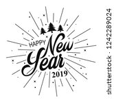happy new year 2019.vector... | Shutterstock .eps vector #1242289024