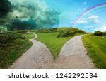 fork in the road concept image | Shutterstock . vector #1242292534