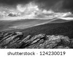 Blue Ridge Parkway Grandfather Mountain Rough Ridge Scenic Landscape Overlook in black and white - stock photo