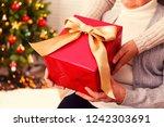 elderly woman celebrating... | Shutterstock . vector #1242303691