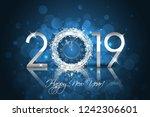 happy new year 2019   vector... | Shutterstock .eps vector #1242306601