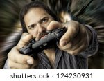 young male using a video game... | Shutterstock . vector #124230931