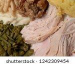 plate of turkey  green beans ... | Shutterstock . vector #1242309454