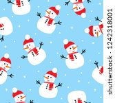 seamless pattern with snowman.... | Shutterstock .eps vector #1242318001