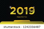 gold happy new year 2019 text... | Shutterstock .eps vector #1242336487