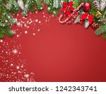 christmas decoration background ... | Shutterstock . vector #1242343741