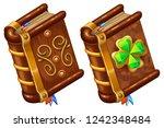 isometric books of magic spells ... | Shutterstock .eps vector #1242348484