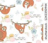 seamless pattern. vector hand... | Shutterstock .eps vector #1242350944