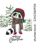 christmas woodland cute forest... | Shutterstock . vector #1242360934