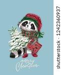 christmas woodland cute forest... | Shutterstock . vector #1242360937
