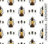 retro camp seamless pattern... | Shutterstock . vector #1242414397