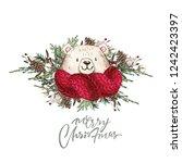 set of christmas woodland cute... | Shutterstock . vector #1242423397