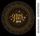 happy new year 2019 lettering.... | Shutterstock .eps vector #1242425161