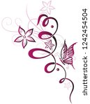 flower tendril with butterfly... | Shutterstock .eps vector #1242454504