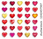 set of stylized red  pink ... | Shutterstock . vector #1242457507