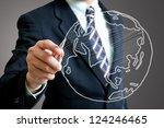 Small photo of Businessman sketch global international world concept.