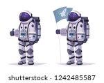 cosmonaut character. thumb up.... | Shutterstock .eps vector #1242485587