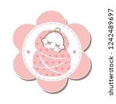 cute newborn baby girl sleeping ... | Shutterstock .eps vector #1242489697