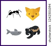 4 wildlife icon. vector... | Shutterstock .eps vector #1242501094