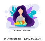 pretty girl with healthy food.... | Shutterstock .eps vector #1242501604