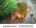 vintage glass cup of healthy... | Shutterstock . vector #1242506104