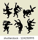 cute dancing rabbit silhouette. ...